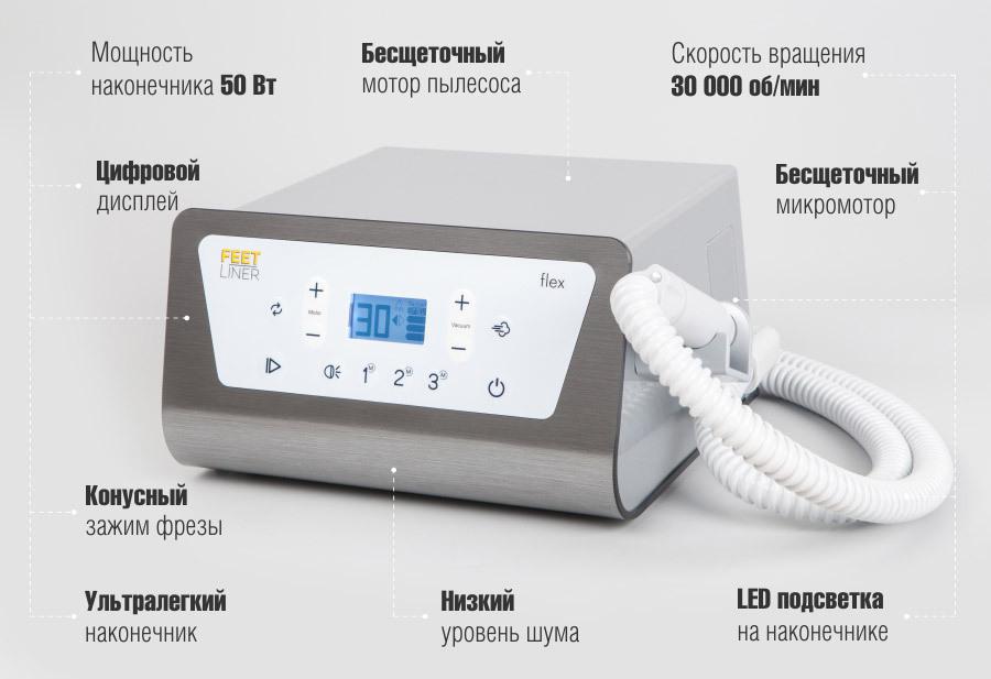 Аппарат для педикюра FeetLiner Flex с пылесосом и подсветкой
