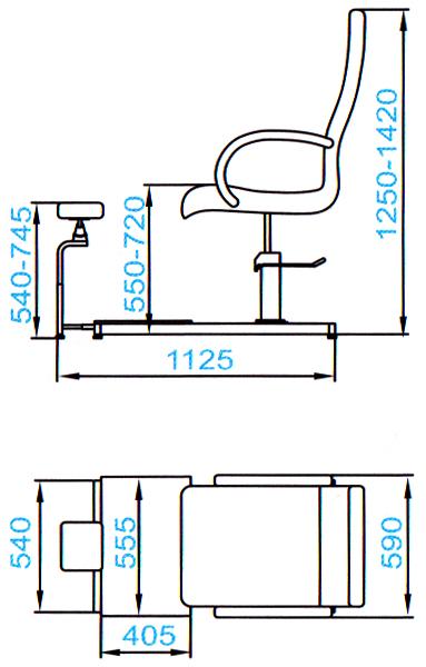 Педикюрная группа SD-2302, гидравлика - размеры