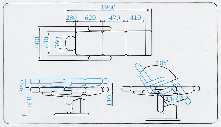 Размеры и положения косметологического кресла