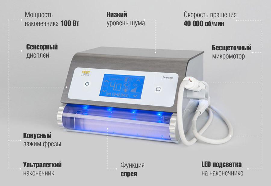 Педикюрный аппарат премиум-класса, предназначенный для проведения профессионального педикюра FeetLiner Breeze со спреем и подсветкой.
