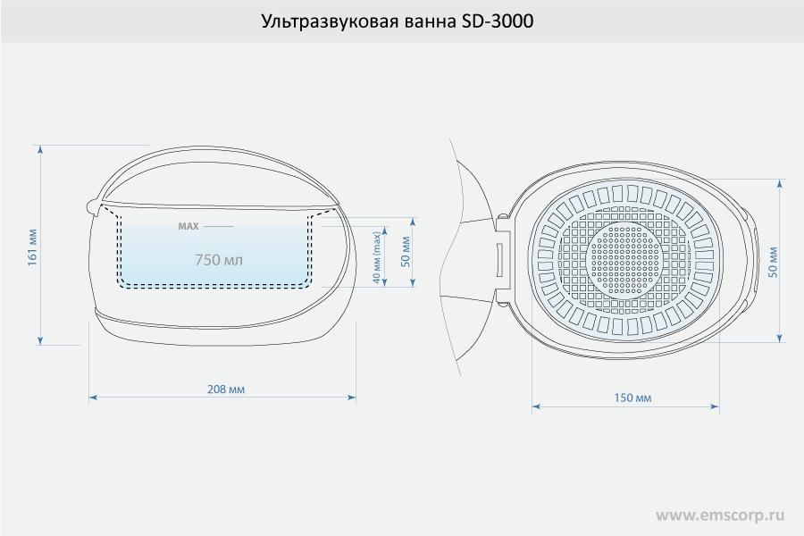 Ультразвуковая ванна (мойка) SD-3000