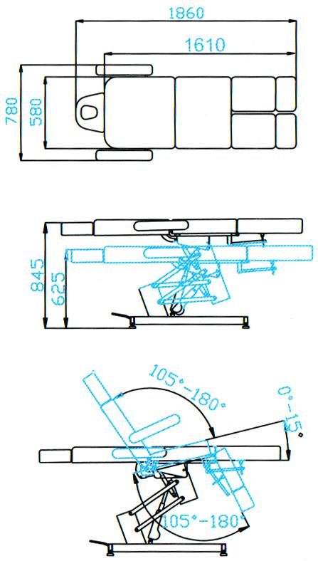 Педикюрное кресло SD-3706, с 1 мотором - размеры
